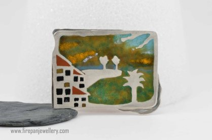 V Brown - Stormy Day enamel brooch